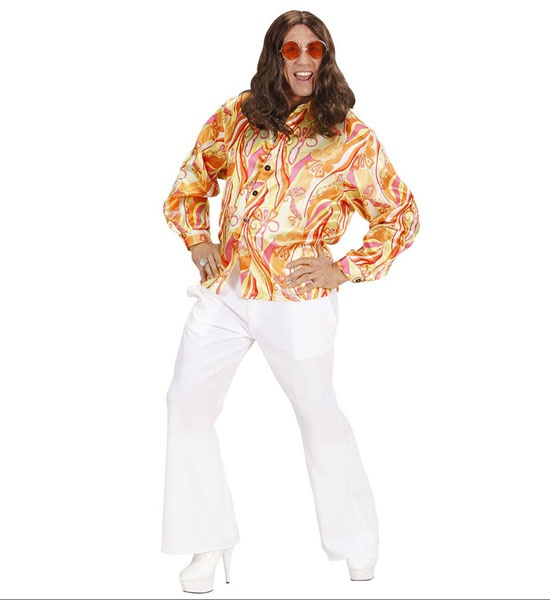 bbb6703f41d Pánská košile retro Funky 70´s léta satén vel. M-L Růžová