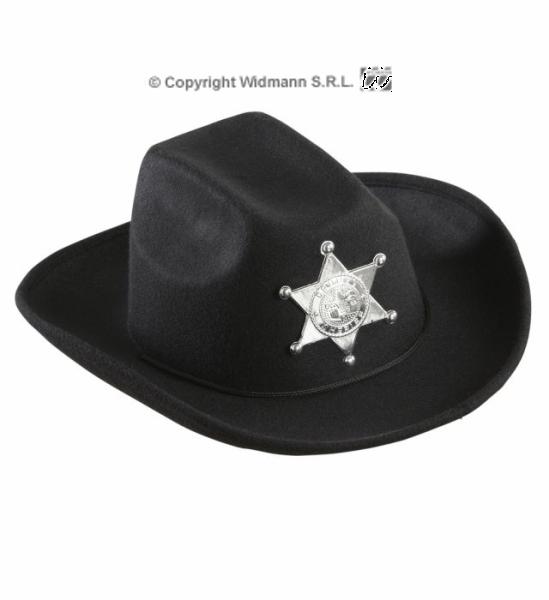 Dětský klobouk Sheriff s hvězdou reálný vzhled černý (2) ... 7ae652da91
