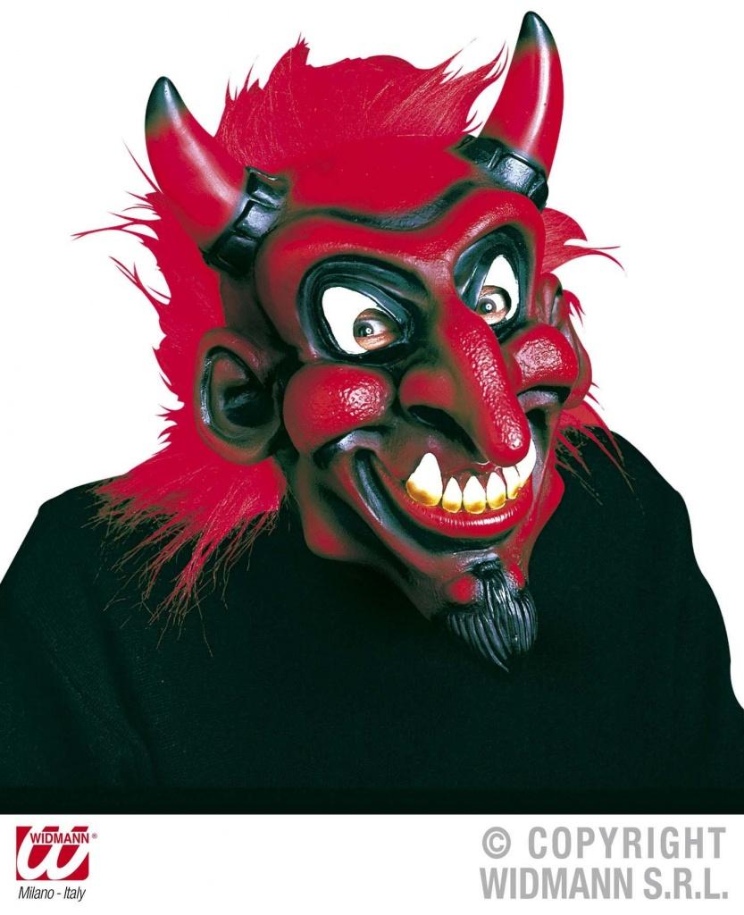 8bb30bb99 Maska Čert Ďábel latex s plyšovými vlasy DELUXE Červená