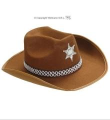 ... Klobouk kovbojský Sheriff hnědý s peřím filcový 47c62ca145